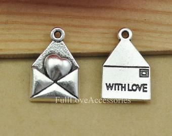20pcs 12x18mm Antique Silver Love Letter Charms Pendant, Antique Silver With Love Charms Pendant, Envelope Charms Pendant