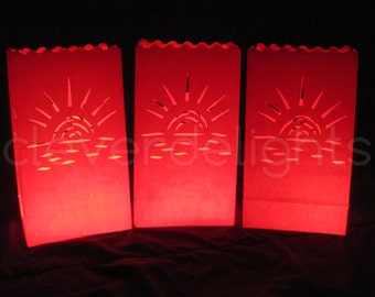 100 Luminary Bags - Red - Sunset Design - Wedding, Reception, and Party Decor - Flame Resistant Paper - Candle Bag - Luminaria