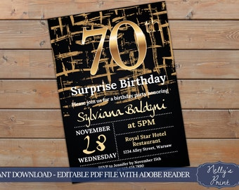 70th Surprise Birthday Invitation, Surprise 70th Birthday Invitation, Adult Birthday Invitation, Self Editable PDF, Instant Download, Women