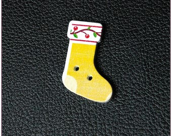 Christmas socks pattern wooden buttons 10 x 1