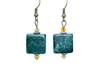 Green Square Stone Earrings