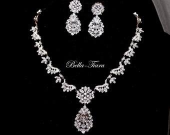 wedding necklace set, cz jewelry set, bridal necklace set, crystal necklace set, Swarovski crystal necklace set, wedding jewelry set