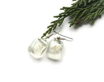 Silver dangle earrings, small silver drop earrings, small dangle earrings, fossil earrings, antique glass earrings, silver earrings
