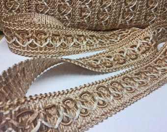 Warm Beige Wide Scrolled Flat Braid - Wheat Colored Scroll Gimp - Designer Trim - Sewing and Upholstery Trim - Pillow and Bag Trim - 1 yard