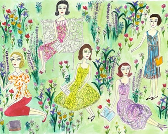 Pretty girls reading dark books on a summer day.  Limited edition print by Vivienne Strauss.