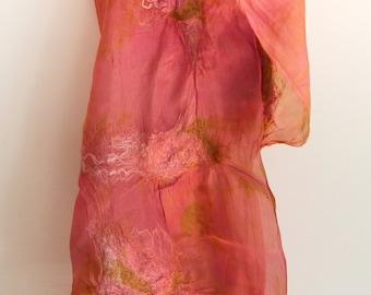 nuno felt shawl, silk wool, natural dyes and ecoprint pink coral OOAK