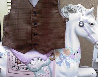 Plaid boys VEST, wedding vest for boys, ring bearer vest, photo prop for boys