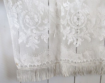 Lace Curtain Panel 70s Single Vintage Sheer Door Covering Room Divider 67 x 40 Inches