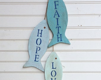 "Painted String of Fish Wall decor made with pallet wood - 11"" wood fish - Faith Hope Love wall art for beach house or lake house special"