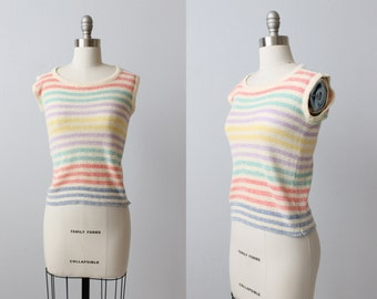 Vintage 1970s Pastel Striped Knit Sweater Top / Short Sleeve Knit Sweater