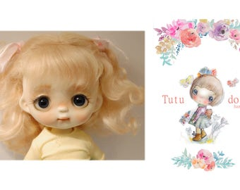 Tutu's real mohair wig,blonde color,7-8 size.