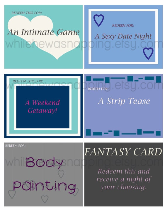 Bedroom Love Coupons For Him/For Her Instant Download