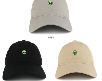 Small Alien Embroidered Washed Cotton Soft Crown Adjustable Dad Hat  - Available in 3 Colors! (C03-ALIEN)