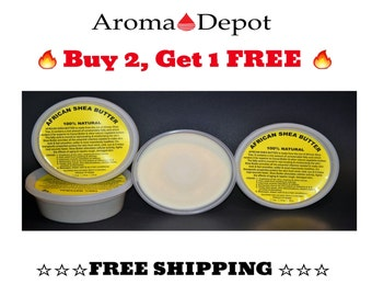 African Shea Butter Raw - Unrefined 8 oz. Ivory Or Yellow 100% Pure Natural  BUY 2, 1 FREE!!! Same Day Shipping!