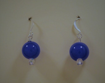 Blue Matte Glass Bead Earrings