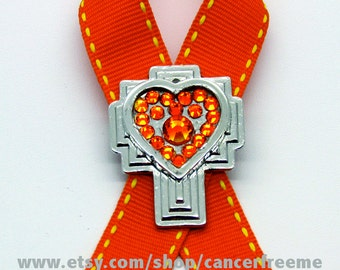Leukemia Cancer Awareness Pin, Cross, Crystals, Handmade, Gift for Anyone, Angels, Jewelry