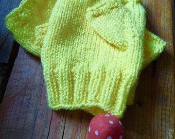 Bright yellow fingerless gloves, buttercup yellow handwarmers,