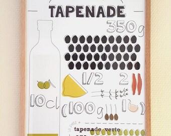 """Affiche recette A3 - La Recette graphique """"Tapenade"""""""