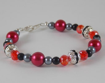 Black and red bracelet Pearl bracelet Red bracelet Grey bracelet Gray bracelet Silver Bracelet women girls bracelet beaded bracelet