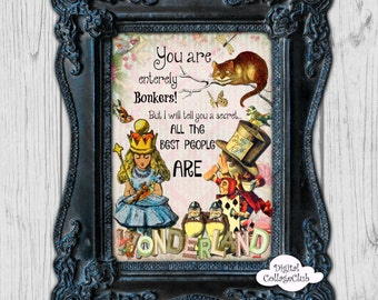 Alice in Wonderland Print Wall Art Decor Print Illustration Wall Hanging Alice in Wonderland Party Alice Mad Hatter Tea Party Quote