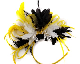 Bright Yellow Black & White Feathers Fascinator on Headband