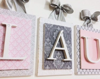 Nursery letters, Pink and Gray Nursery, Personalized wooden letters, Girls Nursery Letters, Wood letter,Pink and Gray Nursery,Custom Letters