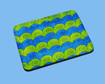 Mouse Pad Colorful Blues and Greens Swirls
