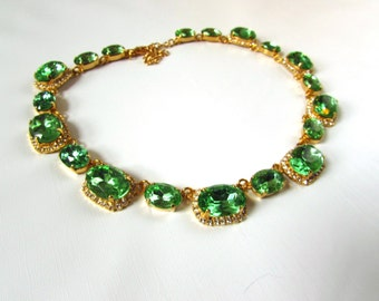 Regency Necklace, Peridot Crystal Necklace, 19th Century Collet Necklace, Riviere 18th Century Green Diamond, Peridot Green Crystal Jewelry