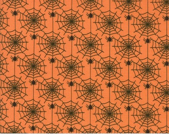 By The HALF YARD - Hocus Pocus by Sandy Gervais for Moda, Pattern #17932-12 Black Spiders on Spider Webs in a Chain on Orange