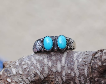 Navajo turquoise ring and sterling silver, native amercian ring, native american rings, vintage native american rings, vintage rings
