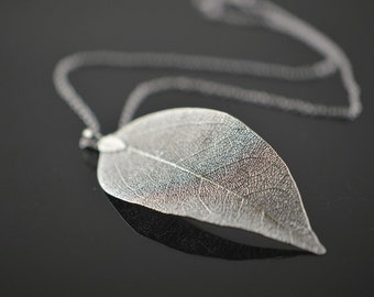 Real leaf necklace, silver dipped leaf necklace, silver dipped leaves natural jewelry woodland jewelry wedding jewelry, bridal necklace
