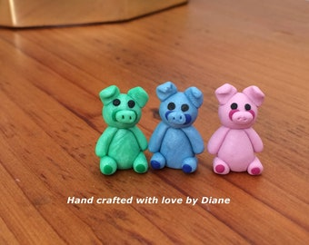 3 Miniature Hand Crafted Polymer Clay Silly Pig s or Piglets Dollhouse Fairy Garden Figurines