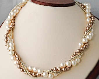 Twisted Pearl Necklace Bridal Statement Necklace Bride Pearl Necklace Pearl Wedding Jewelry Bridal Jewelry Pearl Statement Necklace Prom