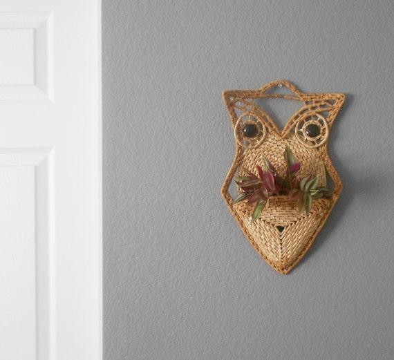 vintage macrame wicker basket owl holder // wall hanging // baby nursery decor