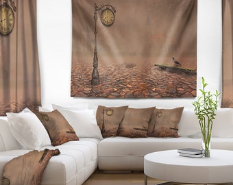 Designart Behind Old Time Landscape Photography Wall Tapestry, Wall Art Fit for Wall Hanging, Dorm, Home Decor