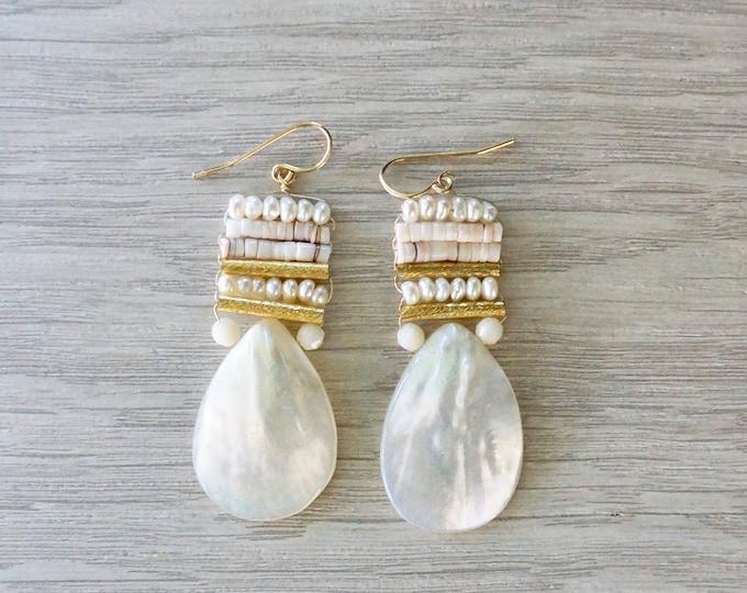 White ivory tear drop earrings - mother of pearl