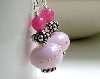 Pink Boho Beaded Dangle Earrings, Pink Blush Lampwork Sterling Silver Earrings, Awareness, For Her Under 75