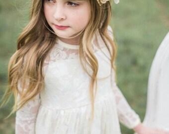 Blush Pink, Ivory & Gold Flower Crown - Blush Flower Girl Crown - Photo Prop - Bridal Flower Crown- Blush Hair Wreath - Baby Flower Crown