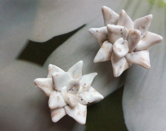 SUCCULENTES jewelry wedding charms-made polymer earrings white spring