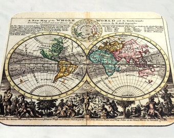 World map mousepad etsy vintage world map mouse pad wanderlust mousepad desk accessories teacher gifts computer gumiabroncs Choice Image