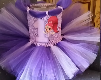 Birthday Shimmer or Shine Costume Flower Girl Tutu Dress