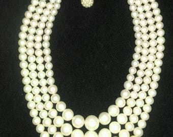 Vintage 1950's Graduated 4 Strand faux Pearl Necklace
