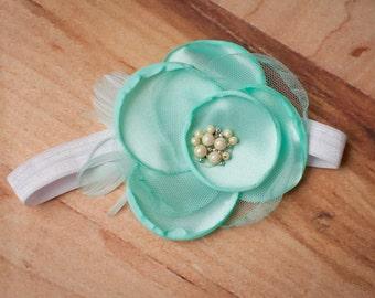 Mint Baby Headbands, Mint Headband, Teal Headbands, Baby Headband, Newborn Headbands, Feather Headbands, Photography Prop
