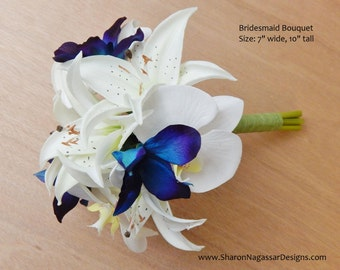 Purple/blue/teal, orchid/orchids, dendrobium, bridesmaid, bouquet, Real Touch Flowers, wedding, prom, Tiger lilies/lily, silk/artificial