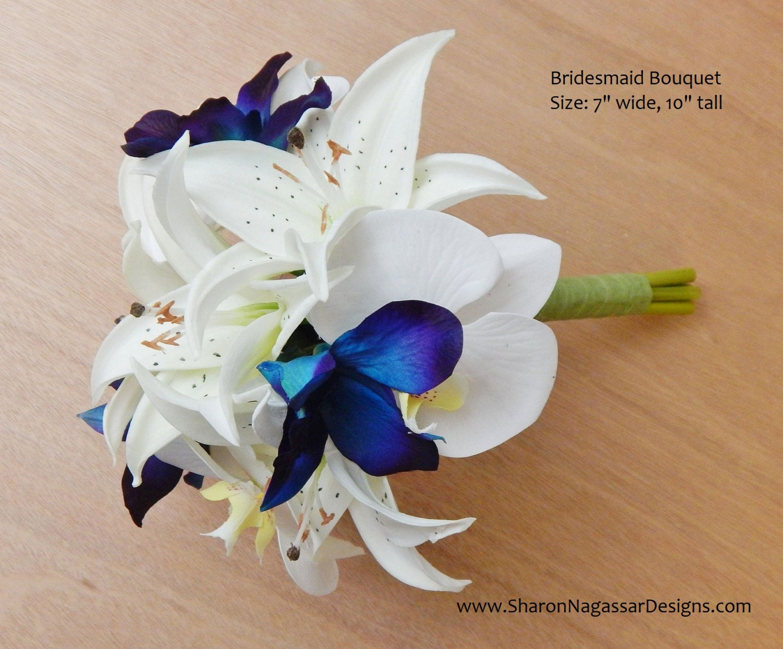 Purpleblueteal orchidorchids dendrobium bridesmaid bouquet purpleblueteal orchidorchids dendrobium bridesmaid bouquet real touch flowers wedding prom tiger lilieslily silkartificial izmirmasajfo