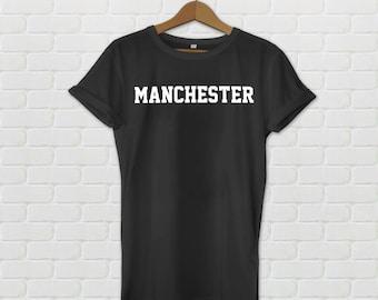 Manchester Varsity Style T-Shirt - Black