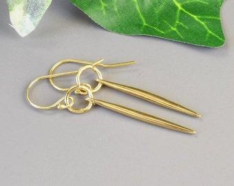Gold Spike Earrings - Minimalist Earrings - Gold Dagger Earrings