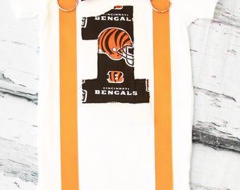 Baby boy Cincinnati Bengals NFL Football Themed first birthday onesie, boy first birthday one Cincinnati Bengals first birthday bow tie set
