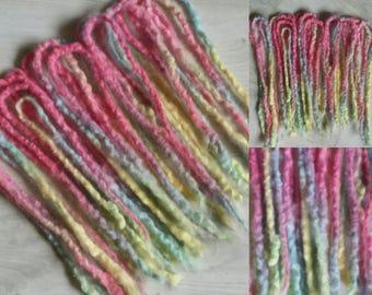 20DE pastel rainbow wool dreads