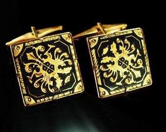 Vintage Black Damascene Cufflinks Gold Spanish Revival Wedding groom gift estate jewelry mens gift cuff links 24kt gold  kilates